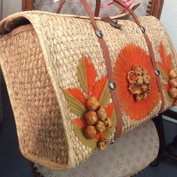 Vintage Handbags - Vintage Farmer's Market Basket Bag